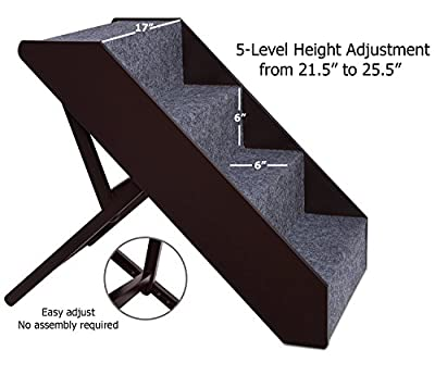 Arf Pets Wood Dog Stairs, 4 Levels Height Adjustment Wide Pet Steps, Foldable by Arf Pets