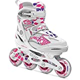 Roces 400793 Women's Model Moody 4.0 Adjustable Inline Skate, US 4-7, White/Pink Lightning