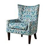 Cheap Contemporary Teal Blue Green Print Upholstered Button Tufted Wingback Accent Armchair with Dark Wood Legs- Includes ModHaus Living Pen