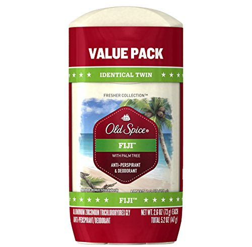 Old Spice Antiperspirant Deodorant for Men, Fiji Scent, Invisible Solid, Fresher Collection, 2.6 Oz, Pack of 2