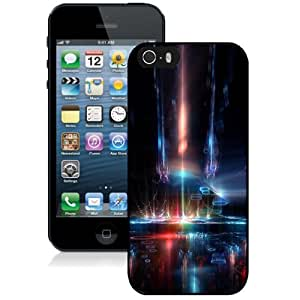 NEW Unique Custom Designed iPhone 5S Phone Case With Space Ship Interior Neon Lights_Black Phone Case