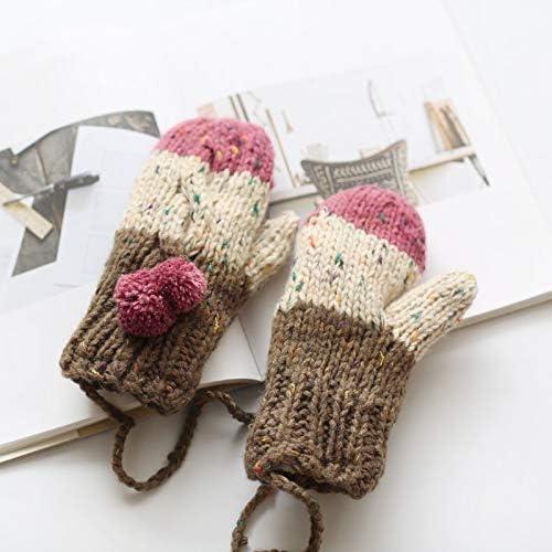BTXXYJP レディースウールニットグローブ厚手の暖かくてビロードの首の冬用手袋 (Color : ピンク, Size : One Size)