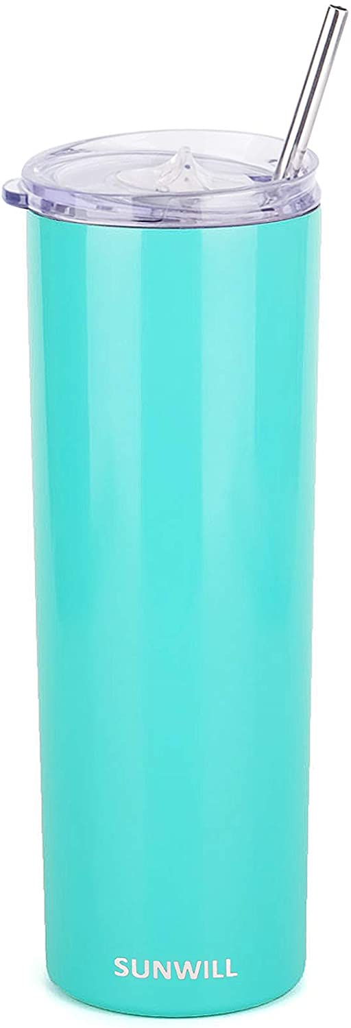 SUNWILL Straw Tumbler Skinny Travel Tumbler with Lid, Vacuum Insulated Double Wall Stainless Steel 20oz for Coffee, Tea, Beverages, Teal