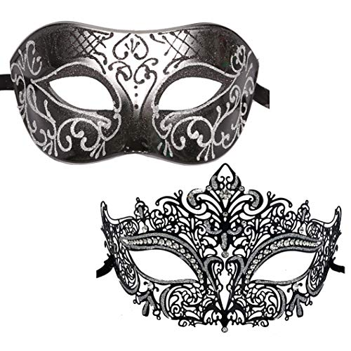 Xvevina Couple Masquerade Metal Masks Venetian Halloween Costume Mask Mardi Gras Mask (Black Silver 2 Pack) -