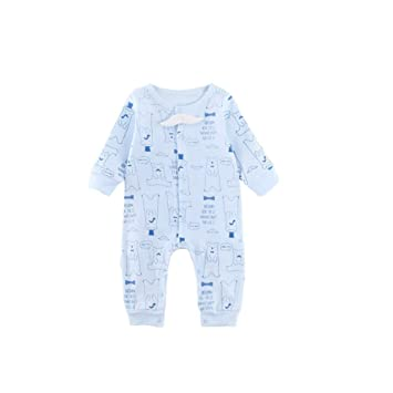 38757d9cd4eca Fairy Baby ベビーロンパース 長袖 前開き 総柄 男の子 女の子 コットン 出産祝い size 80
