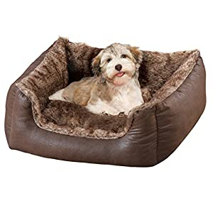 Collections Etc Faux Leather and Faux Fur Pet Bed Dog Bed, Small