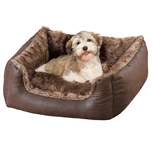 Faux Leather and Faux Fur Pet Bed Dog Bed, Small