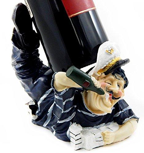 Captain Wine Bottle Holder (Drunk Captain Wine Bottle Holder Statue Nautical Kitchen Bar Decor Wine Stands & Racks Sculpture Gifts)