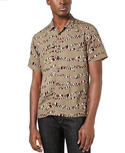 American Rag Tiger Stripe Short Sleeve Button Down Shirt Size XL
