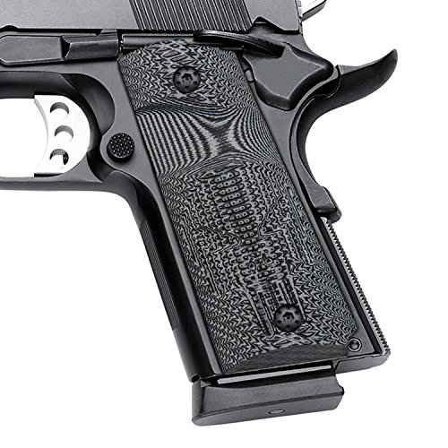 Cool Hand 1911 Compact/Officer Grips, Free Screws Included, Grey/Black G10, Big Scoop, Skull Texture, Brand, H2-SK1B-5
