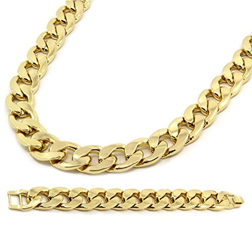 Mens Gold Plated Cuban Hip Hop Miami Necklace Chain & Bracelet 20mm 30 Inch 20mm Curb Chain Necklace