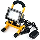JSD LED Portable Rechargeable Spotlights, Emergency Flood Light, Outdoor Floodlight Camping Lights, Mobile Work Lamp, Warning Light Waterproof with Adapter Car Charger (10W Yellow)