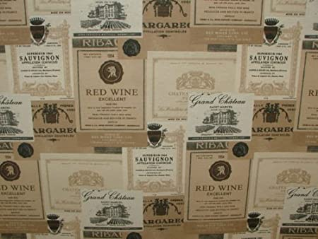 Sale Cotton Rich Linen Look Fabric Curtain Upholstery Cushion French Wine Labels