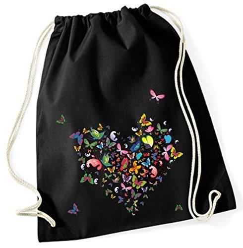 Mein Zwergenland Jutebeutel Schmetterlingsherz, 12 L, schwarz, Motiv 67