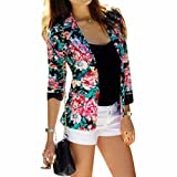 Lady Flower Printed Short Suit Overcoat Long Sleeves Jacket Fashion OL New S