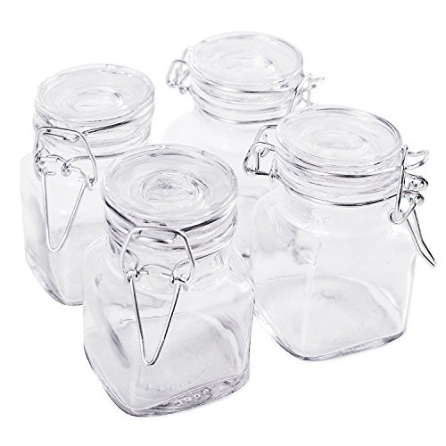3 1/4' Square Glass 3oz Jar with Hinge Glass Lid for Home Kitchen, Arts & Crafts Projects, Decoration, Snack Foods and Sauces...