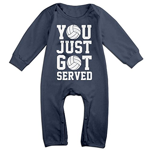 [Baby Infant Romper You Just Got Served Volleyball Long Sleeve Jumpsuit Costume Navy 12 Months] (Bunny Leotard Costume)