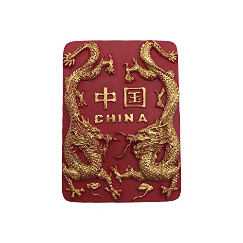 Chinese Dragon 3D Refrigerator Magnet China Souvenirs Sticker,Beautiful myth China Fridge Magnet,Red Home and Kitchen Decoration