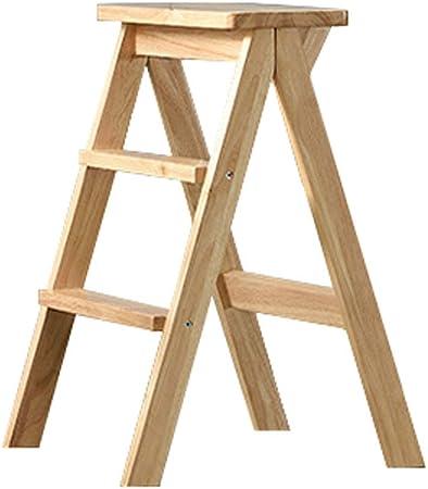 Escalera plegable con peldaños, acabado en madera, taburete liviano y portátil para cocina, escalera para taburetes de bar en garaje Taburete de madera para dormitorio con almacenaje: Amazon.es: Hogar