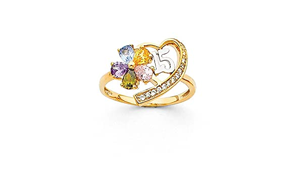 4 Size Jewel Tie Solid 14k Rose Yellow /& White Gold 15 Years Birthday Flower Ring