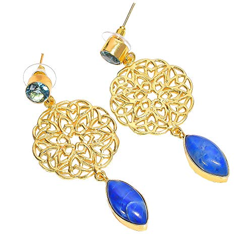 Lavie International Inc Natural Agate Blue Topaz Quartz Gemstone Earrings, Gold Plated Brass Handcrafted Women Jewelry BE599 ()