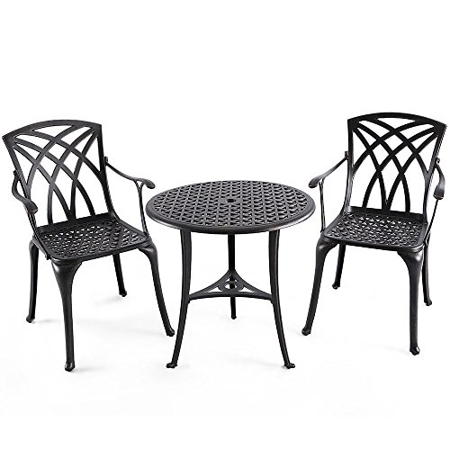 "Nuu Garden Outdoor 3 Piece Cast Aluminum Patio Bistro Set with 26"" Round Table and Arm Chairs SCD001-01, Antique Bronze"