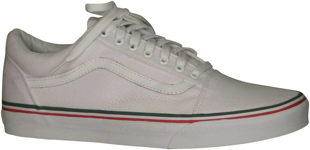 Vans Unisex Old Skool Classic Skate Shoes B01BHC6788 9.5 M US Women / 8 M US Men|True White, Green, Red