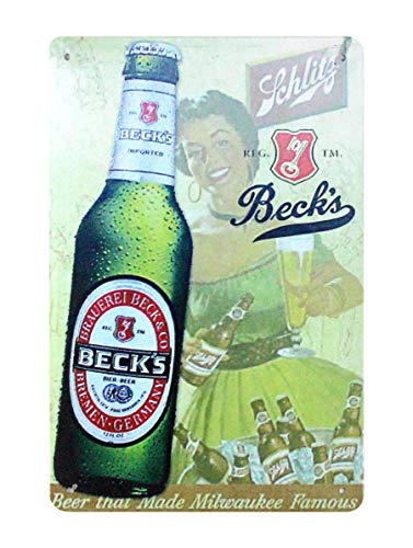Beck's Beer Made Milwaukee Famous Collectible Beer Ad Metal Sign Wholesale tins tin Plates Wholesale -