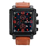 Lancardo Men's Large Square Face Japan Citizen Quartz Watch - 30M Water Resistant - Leather Strap