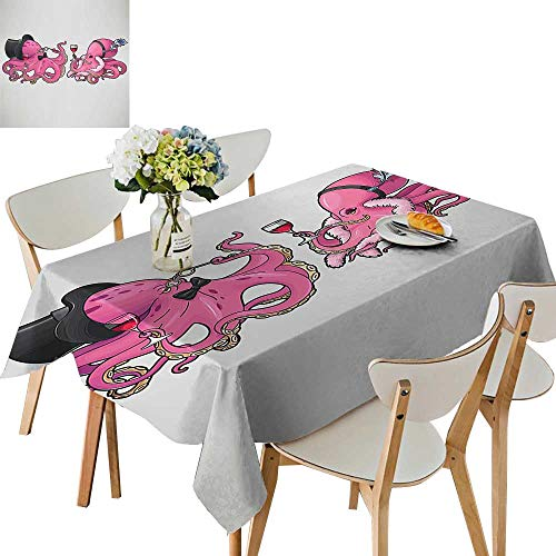 UHOO2018 Square/Rectangle Polyester Tablecloth Table Cover Octopus in Retro Costum at P y Vintage Style Bed for Dining Room,54 x102inch