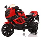 Just-Kids Children's 12V Ride On Sporty Motorbike With Stabilisers, Twin Motors, Working LED Headlight, Music MP3, Foot Pedal (Red)