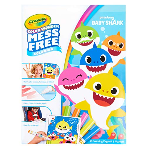 Crayola Baby Shark Wonder Pages Mess Free Coloring Gift ...