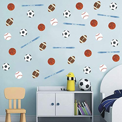 TOARTi Sport Series Wall Sticker Football Basketball Baseball Soccer Wall Decal, Creative Ball Games Decal for Boys or Sport Fans Room Decor (45pcs)