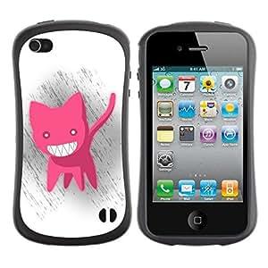 """Pulsar iFace Series Tpu silicona Carcasa Funda Case para Apple iPhone 4 / iPhone 4S , Gato Rosa Dientes Animación Big White malvadas de la sonrisa"""""""
