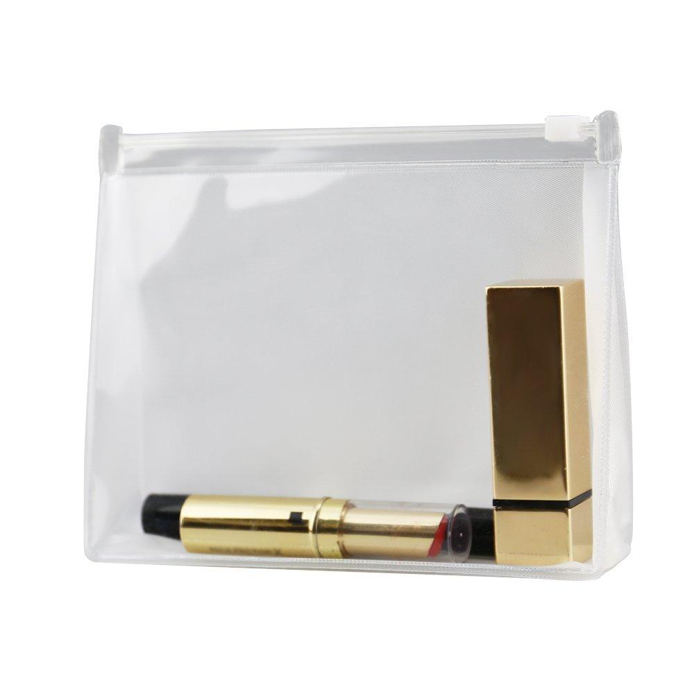 1 neceser de plástico PVC transparente impermeable para cosméticos de 15 x 3,5 x 12 cm, bolsa de maquillaje con cremallera para llevar maquillaje neceser tamaño compacto WEIHUIMEI