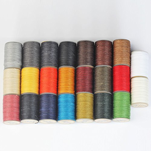 WUTA LEATHER 0.65mm Waxed Thread 23 Colors Hand Sewing Cord Leather Craft Tools by Wuta Leather (Image #4)