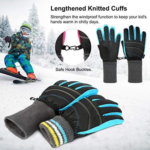 Vbiger nero Guanti Kids Sports da sci blu Winter Warm antiscivolo HHFOf