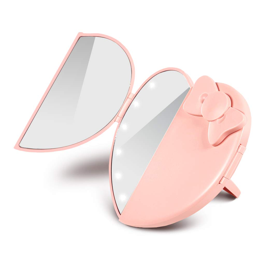 Makeup Mirror with 12 LED Lights Compact Folding Vanity and Travel LED Lighted Mirror Ultra Bright Tabletop Mirrors Cute Heart-Shaped, Pink