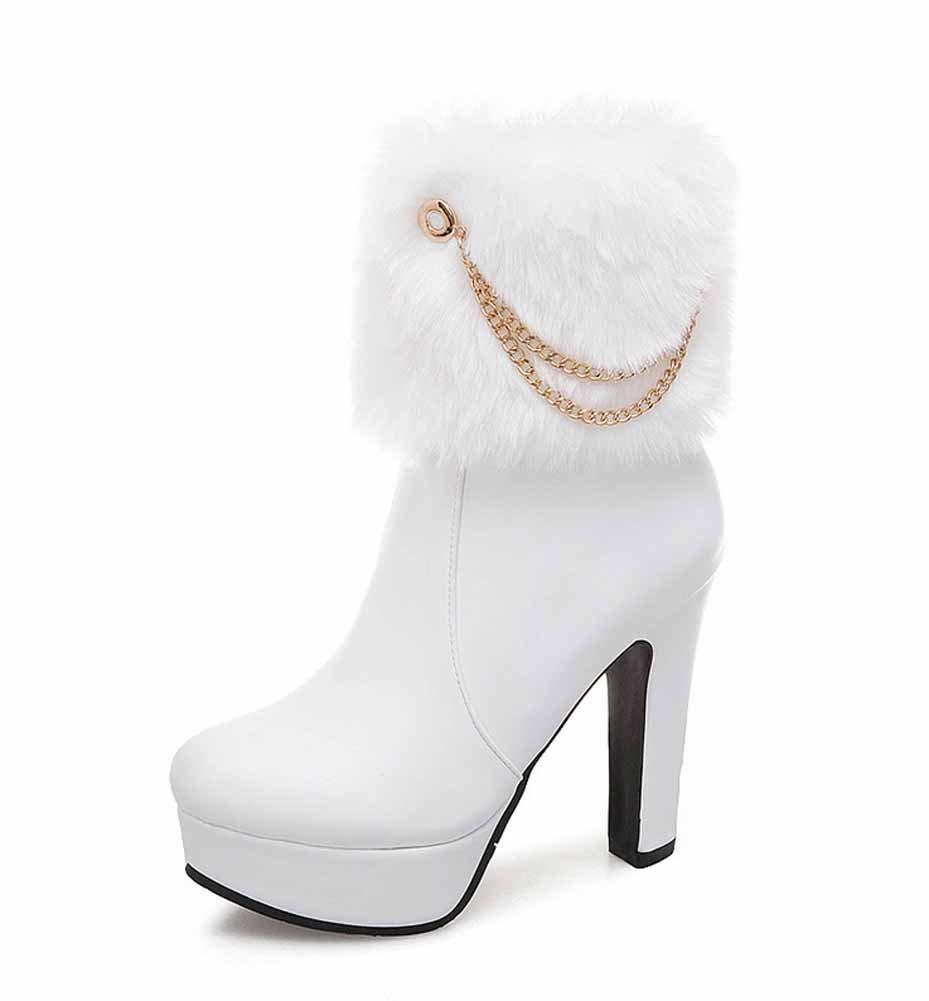 Frauen Plüsch Stiefel 2018 Herbst Winter Mode Metall Kette Plattform Super High Heel Seitlicher Reißverschluss Stiefel Größe EU 34-48
