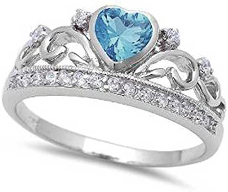 Simulated Aquamarine Heart and White cubic Zirconia .925 Sterling Silver Ring Sizes 4-11