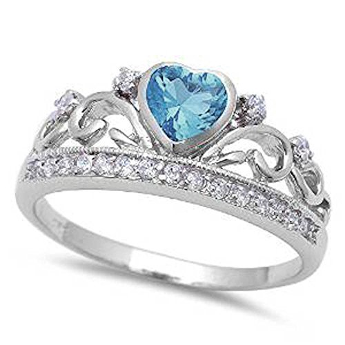 Aquamarine Heart Cubic Zirconia (Simulated Aquamarine Heart and White cubic Zirconia .925 Sterling Silver Ring Size 6)