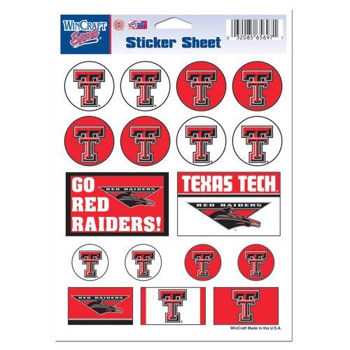 Wincraft NCAA Texas Tech University Vinyl Sticker Sheet, 5'' x 7''