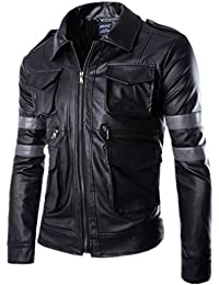 S&S Men Classic Police Style Faux Leather Motorcycle Jacket Vintage Stand Collar