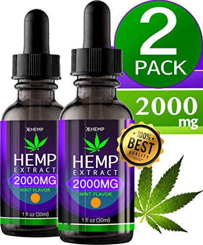 2 Pack Hemp Oil 2000MG. Anxiety Reducer. Pain Relief. Natural Sleep Aid. Weight Management .with Natural Mint Flavor. ()