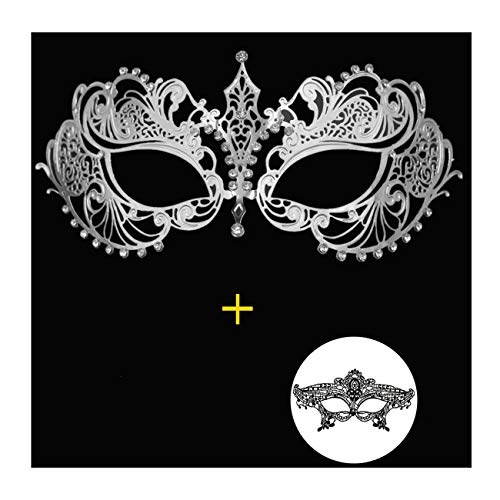 Masquerade Mask for Women Shiny Metal Rhinestone Mask Party Porm Ball Mask Free Lace Mask (Ana Silver) ()