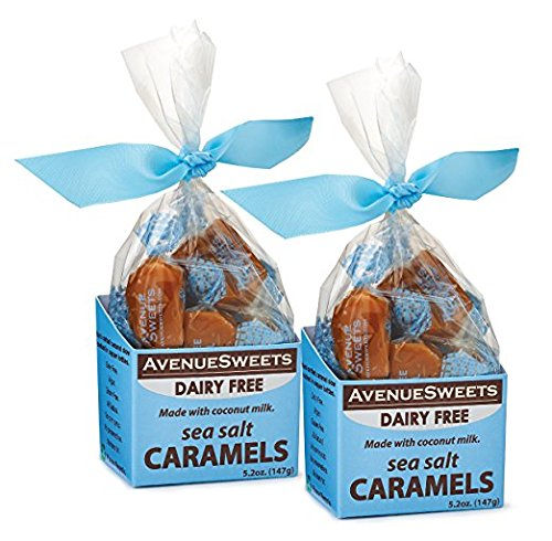AvenueSweets - Handcrafted Dairy Free Vegan Individually Wrapped Soft Caramels - 2 x 5.2 oz Boxes - Sea Salt