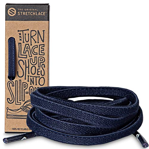 The Original Stretchlace | Elastic Shoe Laces | Flat Stretch Shoelaces (47 Inch | Large+, Navy) ()