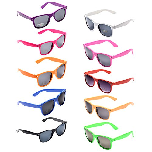 (Oaonnea 10 Packs Neon Colors Party Favors 80's Retro Unisex Sunglasses,UV Protection (10)