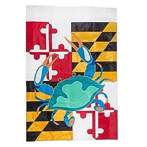Maryland Estado Bandera con azul cangrejo 42x 29rectangular doble Applique casa grande bandera