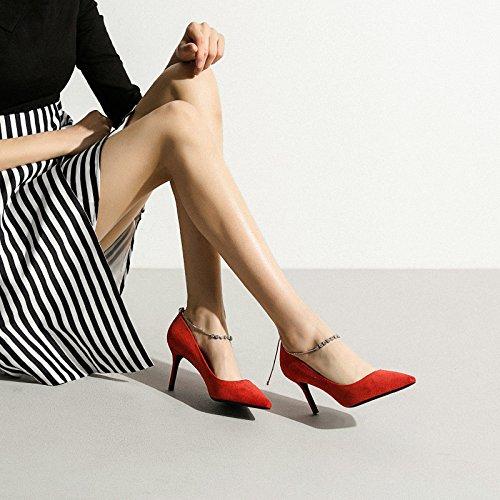 7cm 2 Cour De Mariage Chaussures Femmes De UK Groupe Haute Talons EU Red Strass 34 Rouge Discothèque Mode Sexy Chaussures Femme Travail x4W1STqgnw